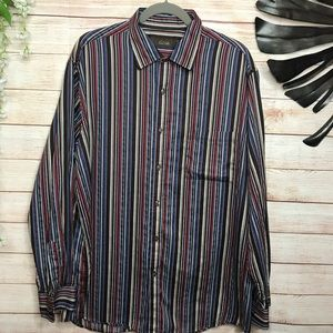 Tasso Elba multicolored buttons down shirt size XL